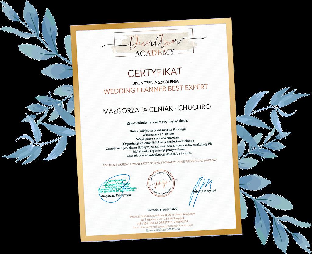 """Certyfikat ukończenia kursu """"Wedding Planner Best Expert"""""""